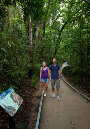 Couple walking down a path surrounded by trees